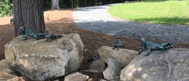 Stone critters await you in the Whimsical Garden